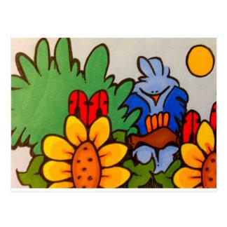Cartão Postal bluebird bonito na árvore