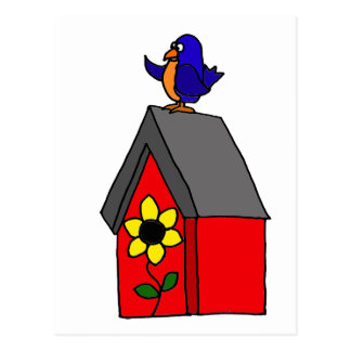 Cartão Postal Bluebird engraçado na casa vermelha do Bluebird