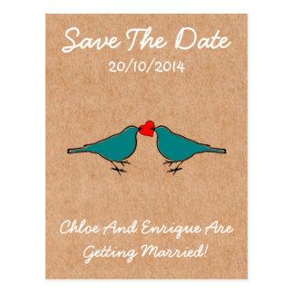 Cartão Postal Bluebirds e casamento do coração do amor