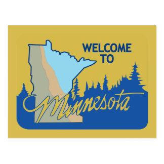 Cartão Postal Boa vinda sinal de estrada de Minnesota - EUA