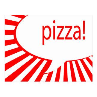 Cartão Postal bolha de fala cómica da pizza