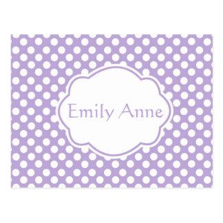 Cartão Postal Bolinhas Dotty da lavanda
