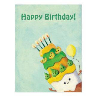 Cartão Postal Bolo de aniversário bonito de Kawaii