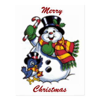 Cartão Postal Boneco de neve bonito e Bluebird