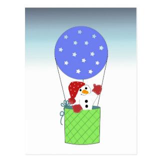 Cartão Postal Boneco de neve no balão de ar quente