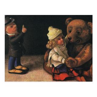 Cartão Postal Brinquedos do natal vintage, boneca e um urso de