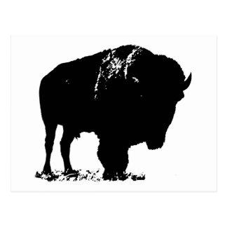 Cartão Postal Búfalo preto & branco do bisonte do pop art