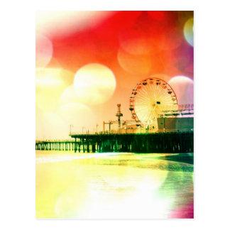 Cartão Postal Cais de Santa Monica - estourando a foto de cores