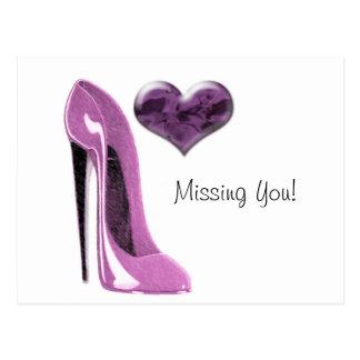 Cartão Postal Calçados cor-de-rosa do estilete do Mulberry com