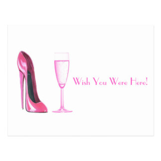 Cartão Postal Calçados do estilete e vidro cor-de-rosa de