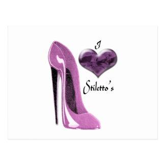 Cartão Postal Calçados e coração do estilete do Mulberry do amor
