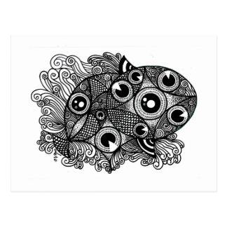 Cartão Postal Caleidoscópio dos peixes 3D