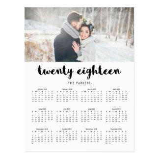 Cartão Postal Calendário 2018 moderno mínimo da foto da
