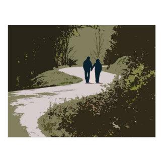 Cartão Postal caminhada romântica com o casal que guardara as