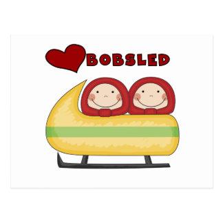 Cartão Postal Camiseta e presentes do Bobsled do amor