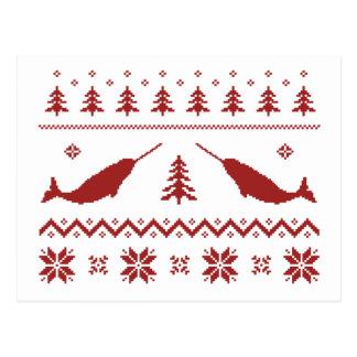 Cartão Postal Camisola feia do Natal de Narwhal