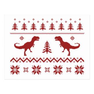 Cartão Postal Camisola feia do Natal do dinossauro de T-Rex