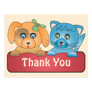 Cartão Postal Cão e gato