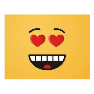 Cartão Postal Cara de sorriso com olhos Coração-Dados forma