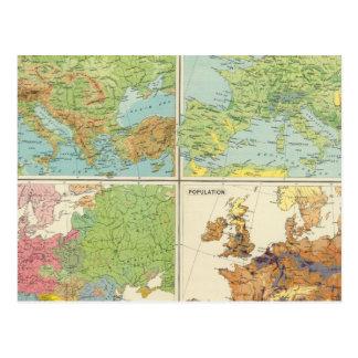 Cartão Postal Características de Europa & mapa físicos da
