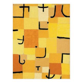 Cartão Postal Caráteres no amarelo por Paul Klee