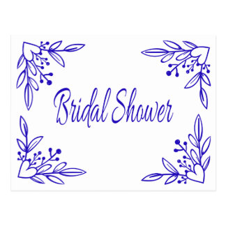 Cartão Postal Casamento floral do coração dos azuis marinhos do