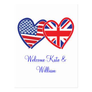 Cartão Postal Casamento real bem-vindo de Kate & de William/
