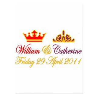 Cartão Postal Casamento real de William e de Catherine