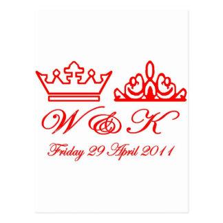 Cartão Postal Casamento real de William e de Kate