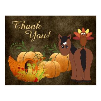 Cartão Postal Cavalo bonito de Brown do outono e obrigado de