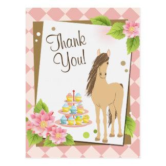 Cartão Postal Cavalo bonito de Brown e obrigado cor-de-rosa das