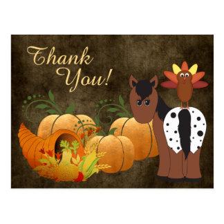 Cartão Postal Cavalo bonito do Appaloosa e obrigado do outono de