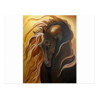 Cartão Postal Cavalo dourado do frisão
