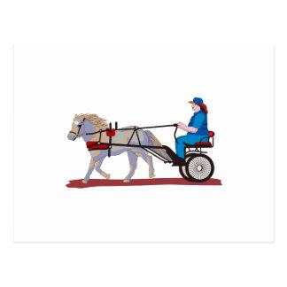 Cartão Postal Cavalo e carro