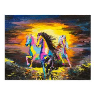 Cartão Postal Cavalos