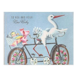 Cartão Postal Cegonha do vintage na bicicleta a você e a seu