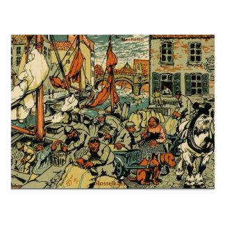 Cartão Postal Cena antiga da pesca do cais dos mexilhões de