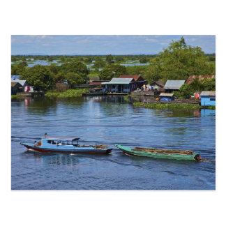 Cartão Postal Cena rural, lago sap de Tonle, Siem Reap, Angkor,