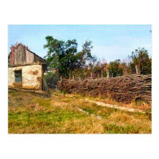 Cartão Postal Cerca agrícola tradicional da construção e do