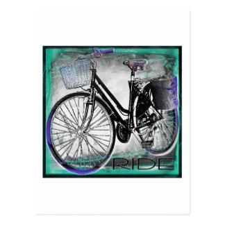 Cartão Postal Cerceta do passeio da bicicleta do vintage