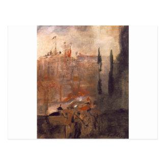 Cartão Postal Cerco de um castelo por Lajos Gulacsy