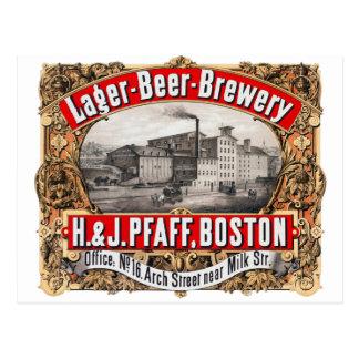 Cartão Postal Cerveja pilsen Boston da cervejaria H&J Pfaff da