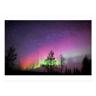 Cartão Postal Céu Alaska da aurora boreal da arte da textura do