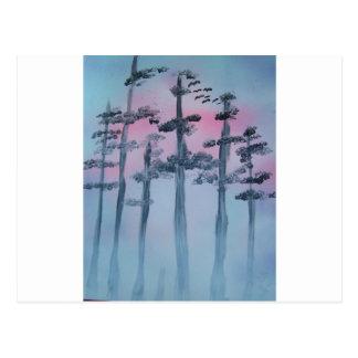 Cartão Postal Céu e árvores da arte da pintura pistola