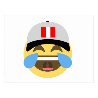 Cartão Postal Chapéu de Peru que ri Emoji