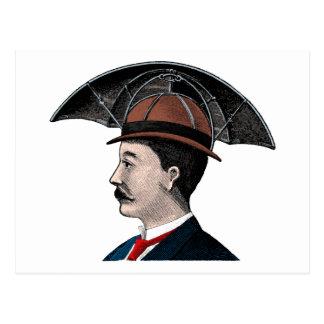 Cartão Postal Chapéu do guarda-chuva - ilustração do vintage