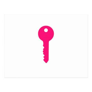 Cartão Postal Chave cor-de-rosa