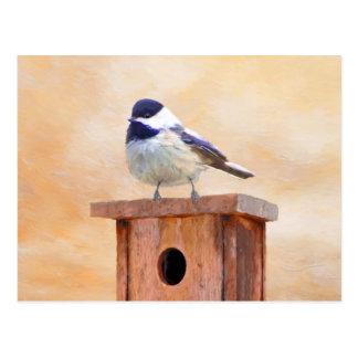 Cartão Postal Chickadee no Birdhouse