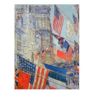 Cartão Postal Childe Hassam - dia da vitória aliada 1917