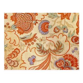Cartão Postal Chintz floral alaranjado coral Paisley